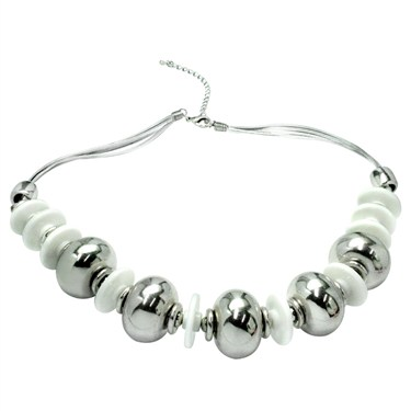Karma Silver Bead and Disc Necklace