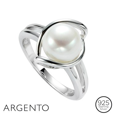 Argento Silver Curve Pearl Ring