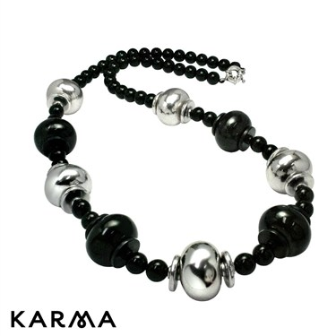 Karma Silver and Black Bead Necklace