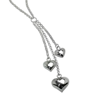 Argento Triple Heart Drop Necklace