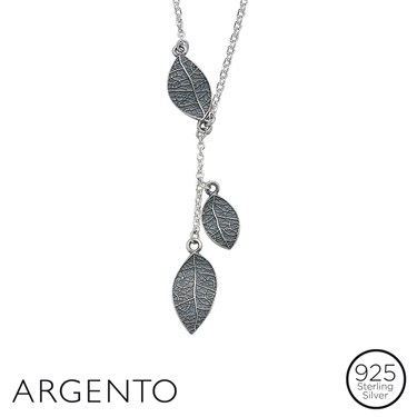 Argento Triple Drop Leaf Necklace