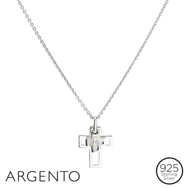 Argento Double Cross Necklace