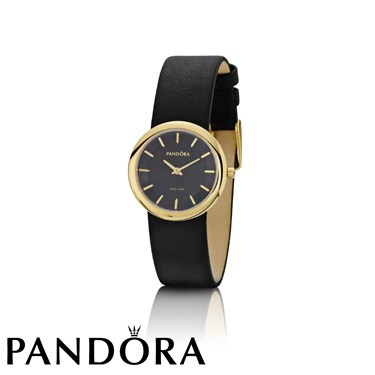 Pandora Pure Watch With Black Leather Strap