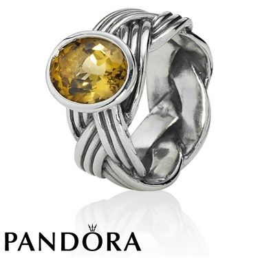 Pandora Tied Together Bear Quartz Ring