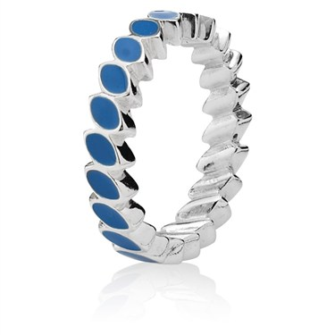 Pandora Leaf Band Ring - Blue