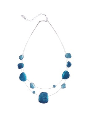 Karma Textured Enamel Stone Necklace