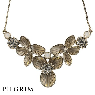 PILGRIM Bronze Star Flowers Necklace