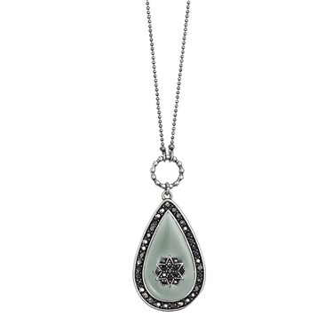 PILGRIM Silver Bohemia Teardrop Necklace