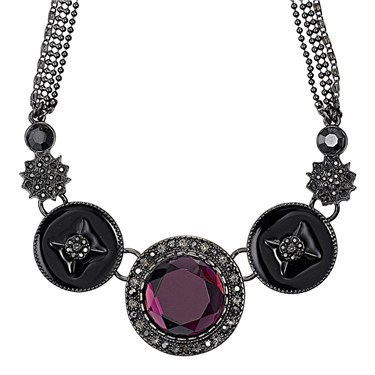 PILGRIM Purple Bohemia Cascade Necklace