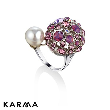 Karma Pink Crystal Dome Ring