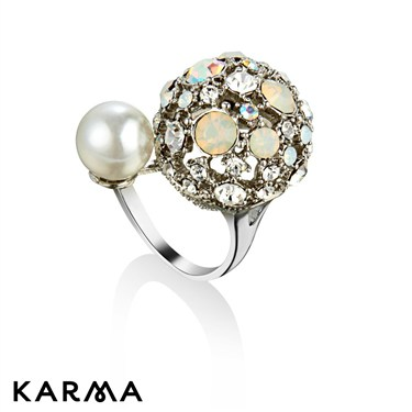 Karma White Crystal Dome Ring