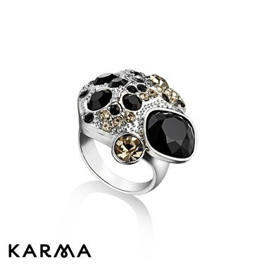 Karma Black Crystal Cluster Ring