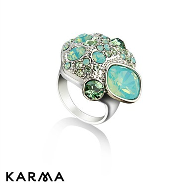 Karma Mint Crystal Cluster Ring