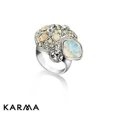 Karma White Crystal Cluster Ring