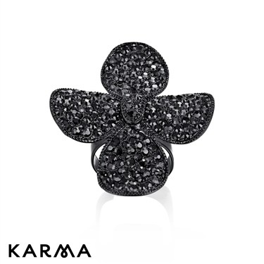 Karma Black Four Petal Crystal Ring