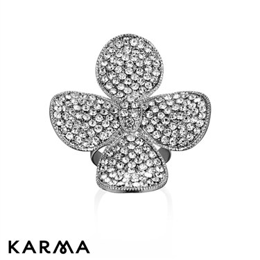Karma Four Petal Crystal Ring
