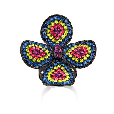 Karma Multi Four Petal Crystal Ring