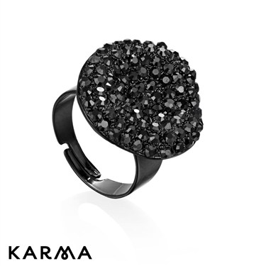 Karma Black Diamanté Crystal Ring