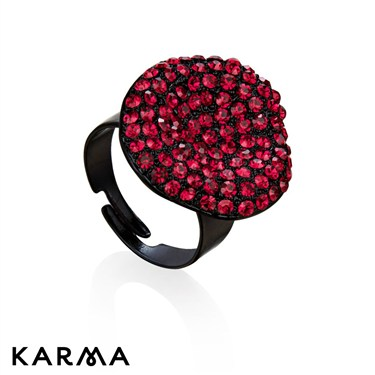 Karma Red Diamanté Crystal Ring