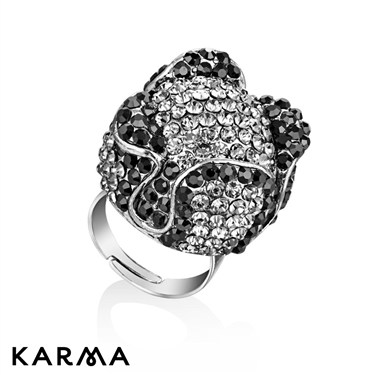 Karma Black Four Petals Circle Ring