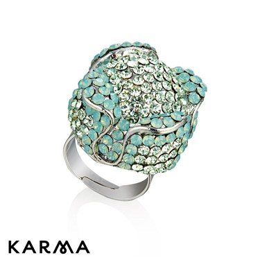Karma Opal Four Petals Circle Ring