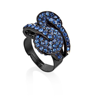 Karma Blue Two Circles Crystal Ring