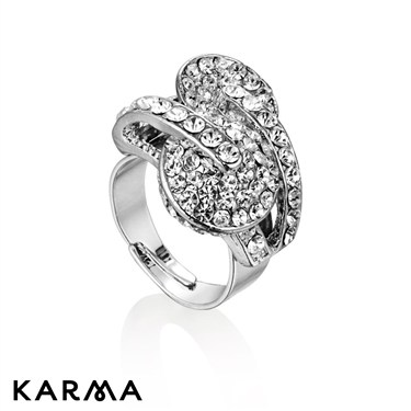Karma Two Circles Crystal Ring