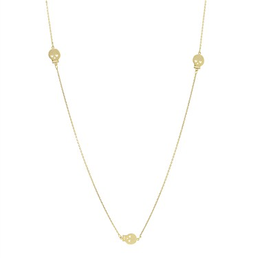 Karma Gold Three Skull Necklace