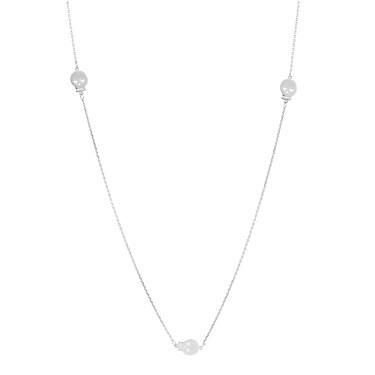 Karma Silver Three Skull Necklace