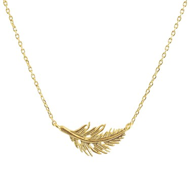 Karma Gold Single Feather Necklace