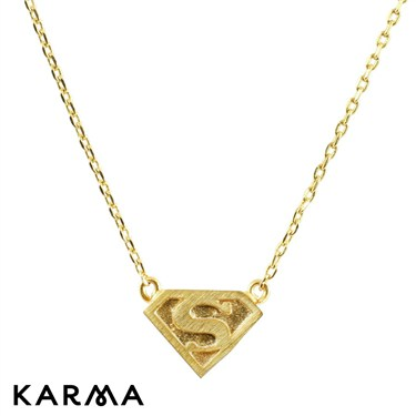 Karma Gold Superman Logo Necklace