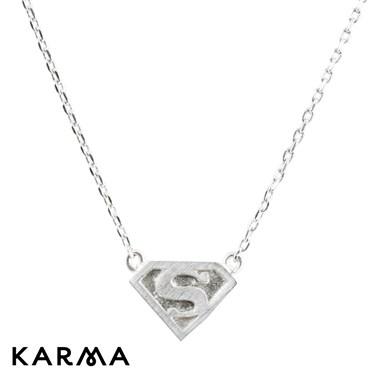Karma Silver Superman Logo Necklace
