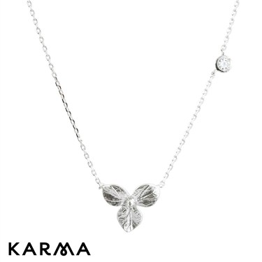 Karma Silver Three Petal Flower Necklace
