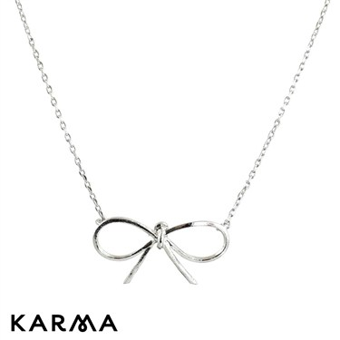 Karma Silver Bow Necklace