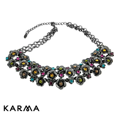 Karma Coloured Flower Cluster Necklace