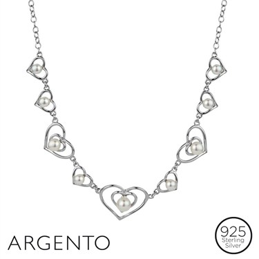 Argento Heart and Pearl Necklace
