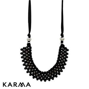 Karma Black Ribbon and Crystal Necklace
