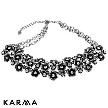 Karma Crystal Flower Cluster Necklace