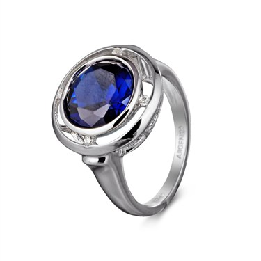 Argento Blue Crystal Circle Ring