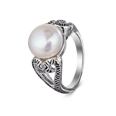 Argento Outlet Pearl and Swirl Heart Ring