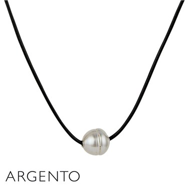 Argento Single Pearl Leather Necklace