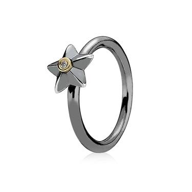 Pandora Oxidised Silver Star Ring