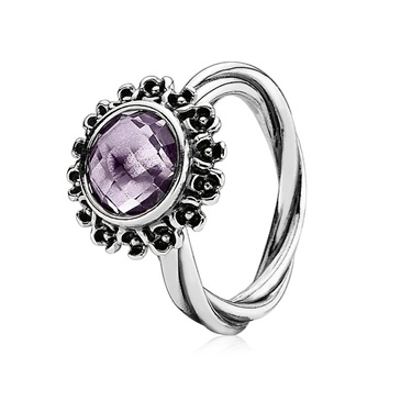 Pandora Silver Ring with Purple Amethyst