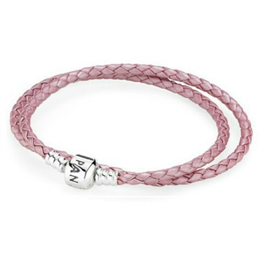 Pandora Pink Double Woven Leather Bracelet Click To View Larger Image