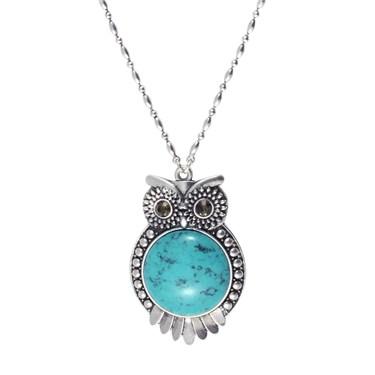Karma Turquoise Owl Necklace