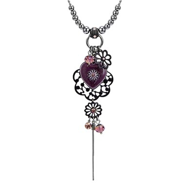 Karma Heart and Flower Drop Necklace