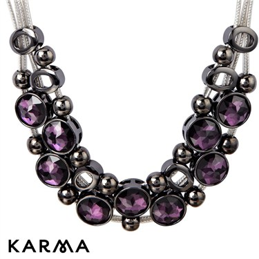 Karma Purple Crystal Cascade Necklace