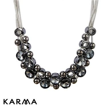 Karma Black Crystal Cascade Necklace