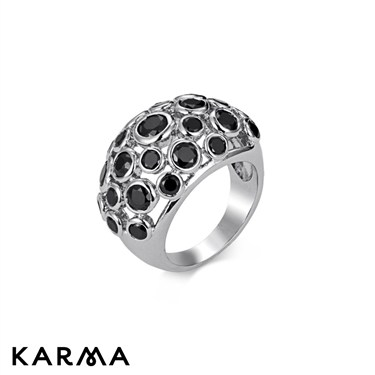 Karma Black Stone Set Ring