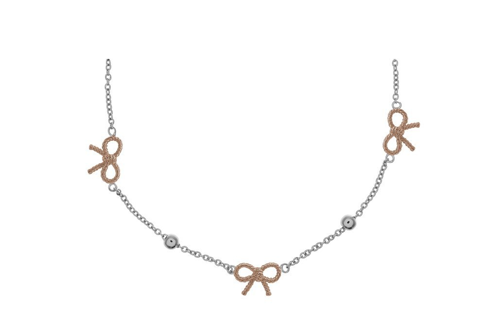 Olivia Burton Bow & Ball Silver & Rose Gold Necklace  1
